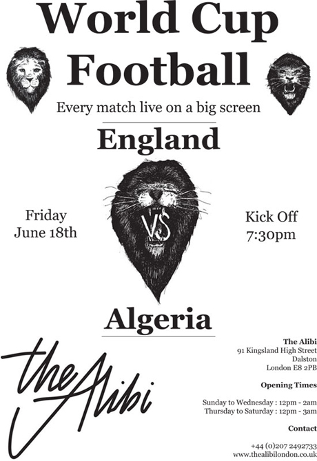 England vs Algeria at The Alibi