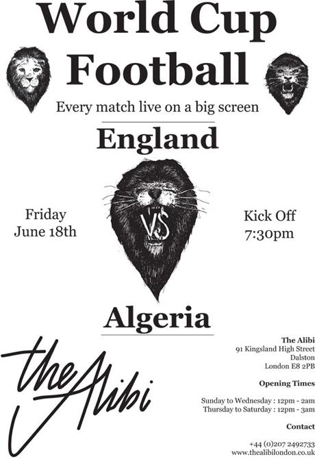 England vs Algeria at The Alibi